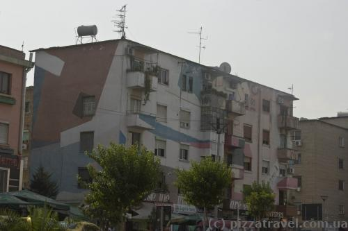 Many houses in Tirana are painted in different colors.