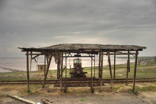 Abandoned plant on the Syvash lake
