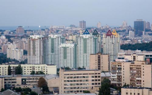 View from observation deck on Chervonozorianyi Avenue