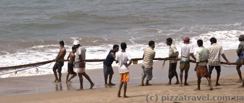 Fishermen pull the net. Sometimes tourists help =)
