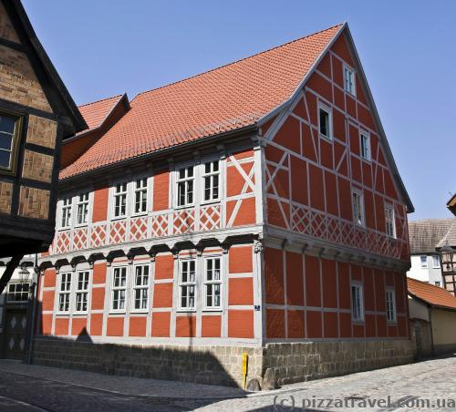 Red half-timbered house in Quedlinburg