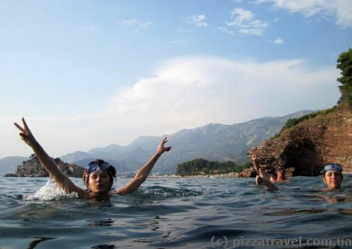 Swimming near the Sveti Stefan Island