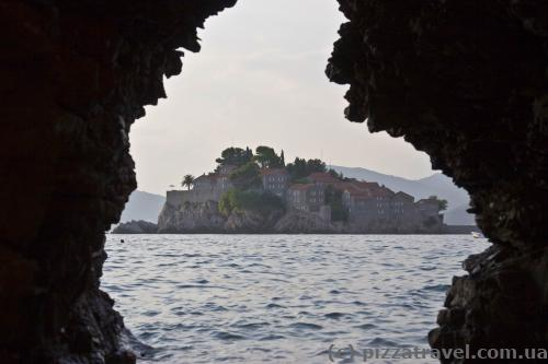 Unusual view of Sveti Stefan
