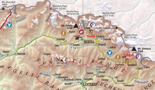 Сванетія, карта