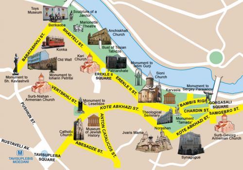 Карта старого города Тбилиси