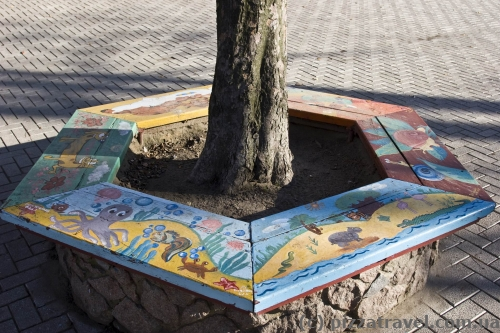 Children painted the benches in the park.