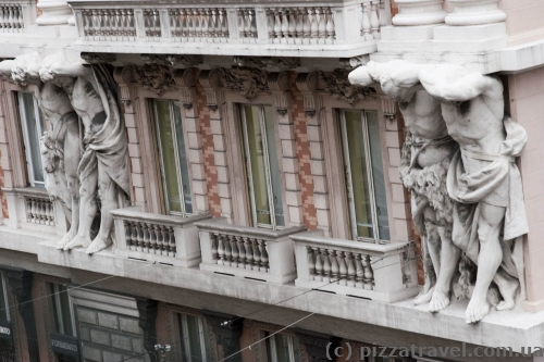 Houses on the XX September Street in Genoa