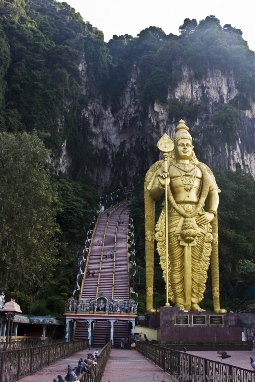 Gilded statue of the god Murugan near the Batu Caves