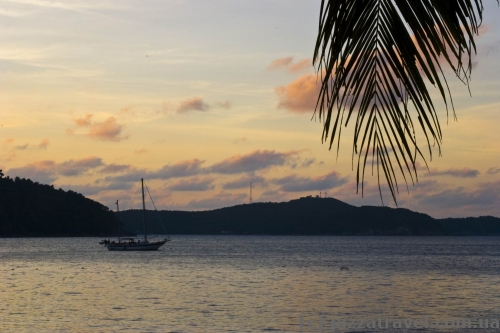 Sunset at the PIR hotel beach on the Perhentian Islands