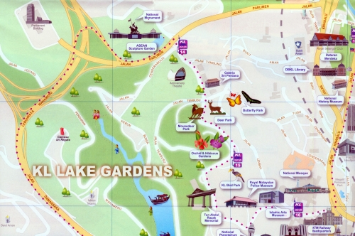 Map of the Lake Gardens Park in Kuala Lumpur