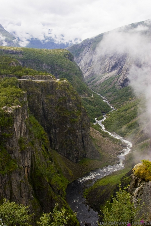 View from the lookout near the Voringfossen Waterfall