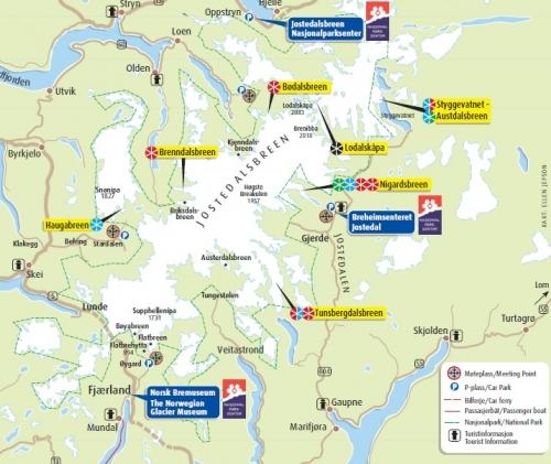 Карта ледника Йостедалсбреен и его рукавов