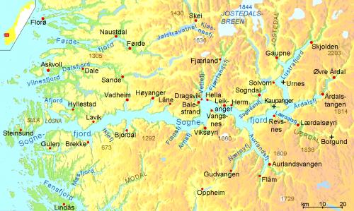 Карта Согнефьорда