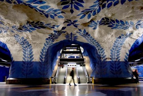 Blue subway line in Stockholm