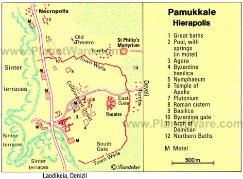 Schematic map of Pamukkale