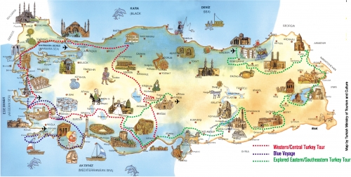 Tourist Map of Turkey