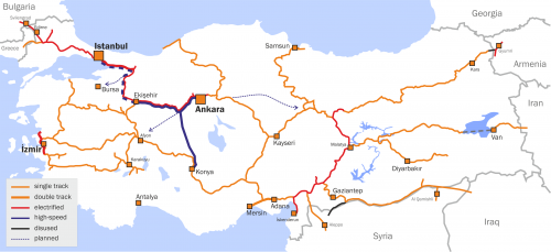 Railway Map of Turkey