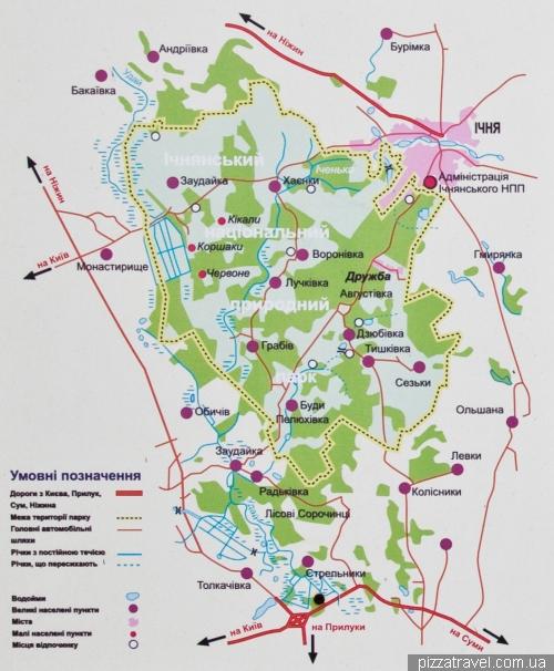 Карта Ічнянського національного природного парку