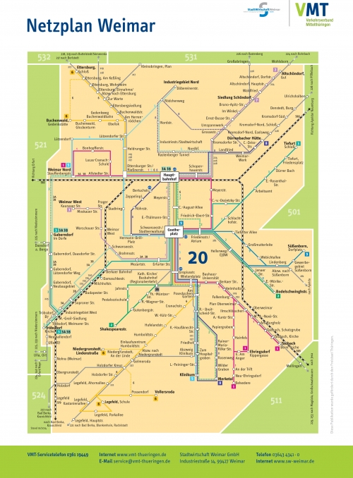 Weimar bus route map