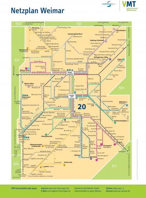 Карта автобусных маршрутов Ваймара