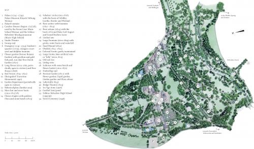 Карта парка около дворца Бельведер в Ваймаре
