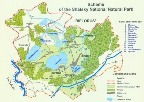 Map of Shatsky Lakes