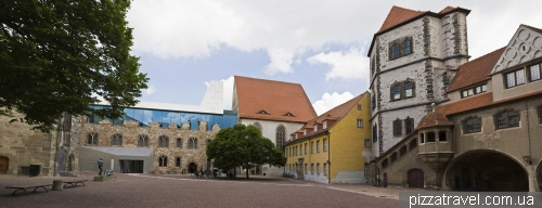 Courtyard of fortified palace Moritzburg in Halle