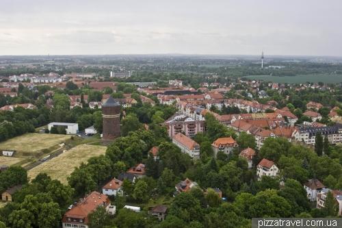 Вид со смотровой площадки на Памятнике битве народов в Лейпциге