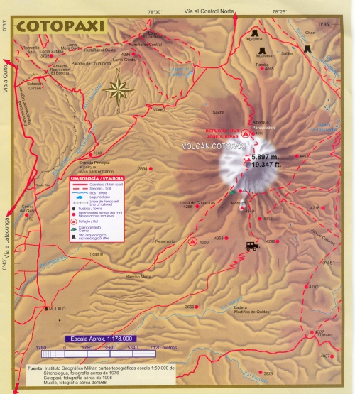 Map of Cotopaxi Park