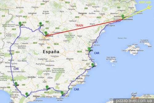 Маршрут по Іспанії