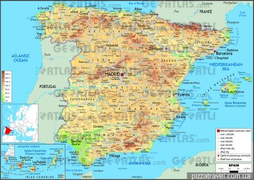Фізична карта Іспанії