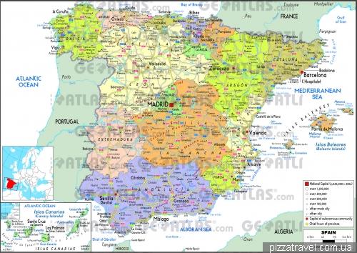 Політична карта Іспанії