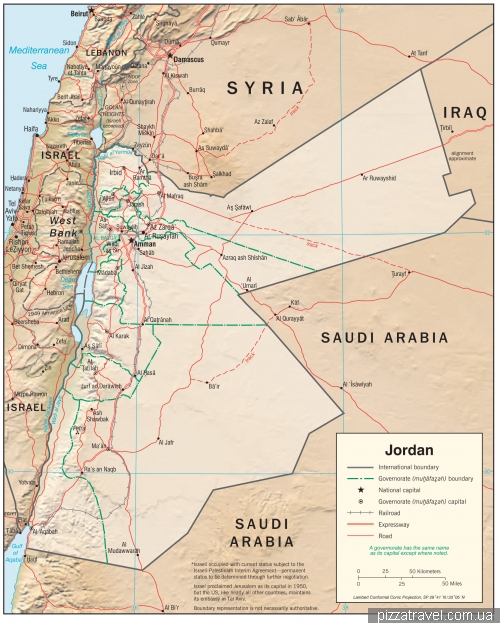 Карта Йорданії