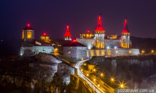 Night lights of the castle in Kamianets-Podilskyi