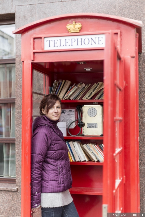 English telephone booth in Kamianets-Podilskyi