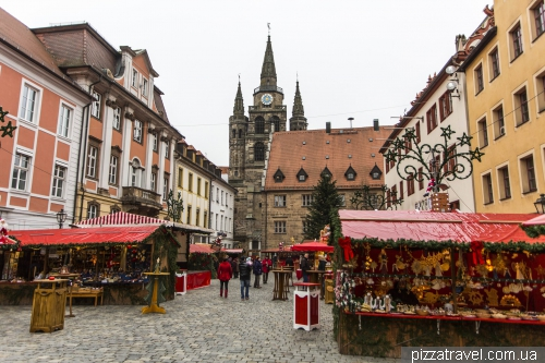 Christmas market on the Martin Luther square in Ansbach