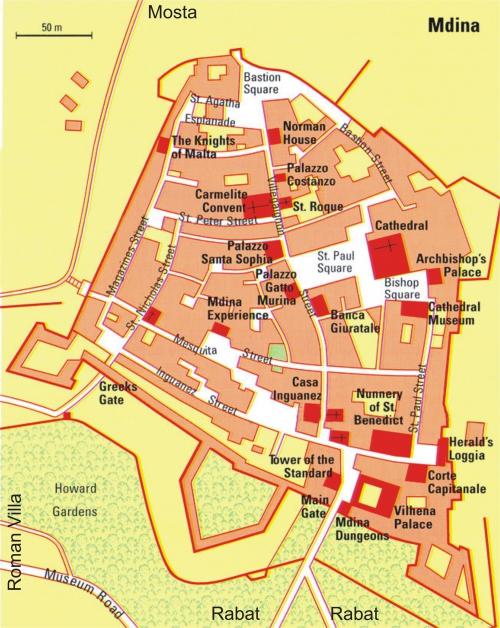 Карта Мдины