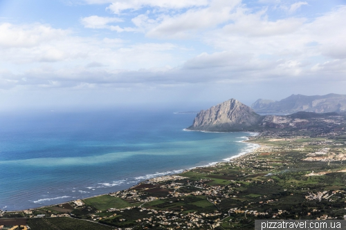 Erice, view of the coast and the mountain Monte Cofano