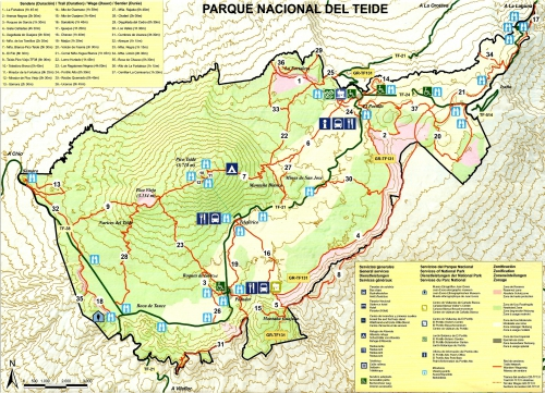 Map of hiking trails in the Teide National Park