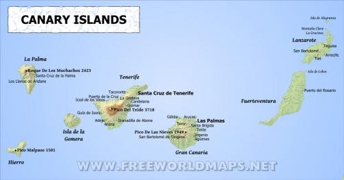 Карта Канарських островів