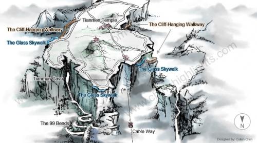 Карта горы Тяньмэнь