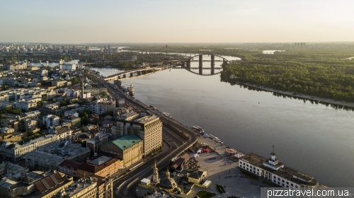 Poshtova square and Podilskyi Metro Bridge