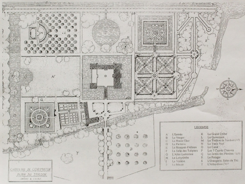 Plan of the Cormatin castle park
