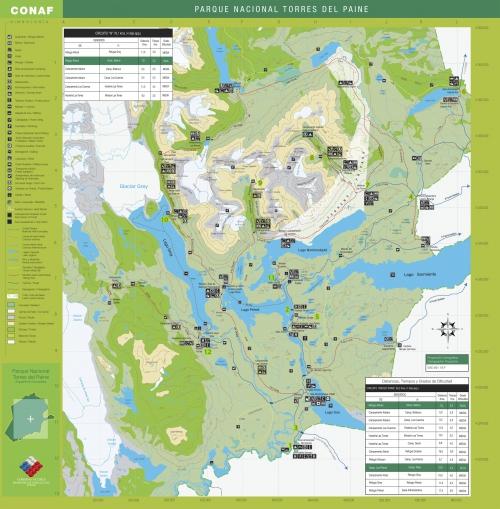 Карта национального парка Торрес дель Пайне