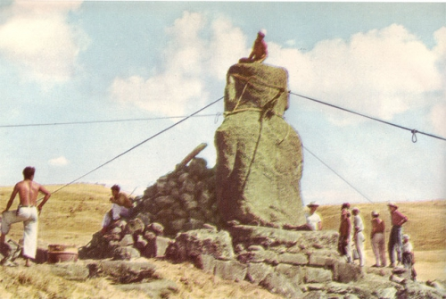 Expedition of Tour Heyerdahl on Easter Island