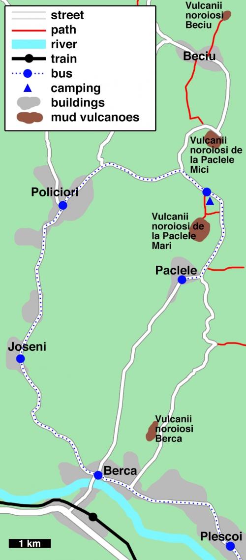 Карта грязевых вулканов Берка