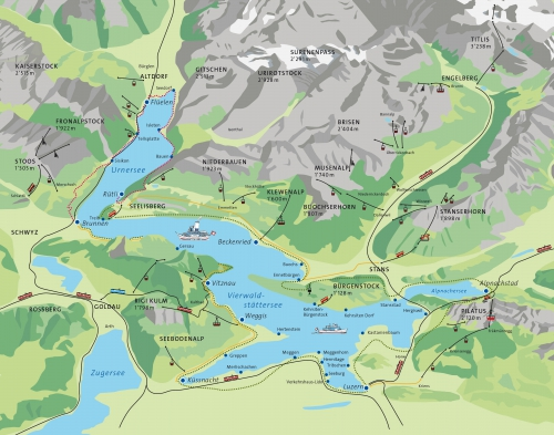 Map of the Lake Lucerne