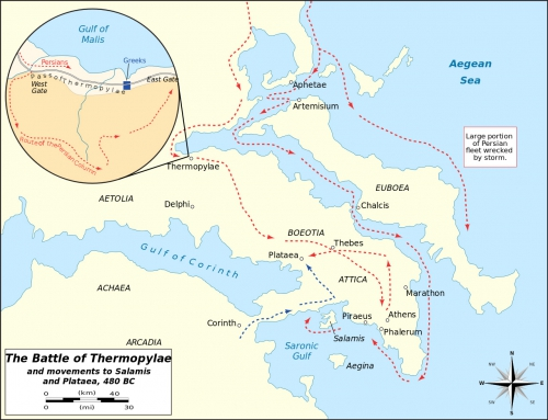 Battle of Thermopylae and the movement of the army of King Xerxes
