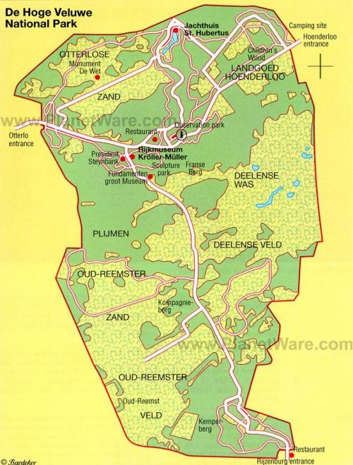 Карта национального парка Де-Хоге-Велюве