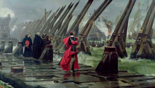 Cardinal Richelieu on the siege of La Rochelle (Henri Motte, 1881)
